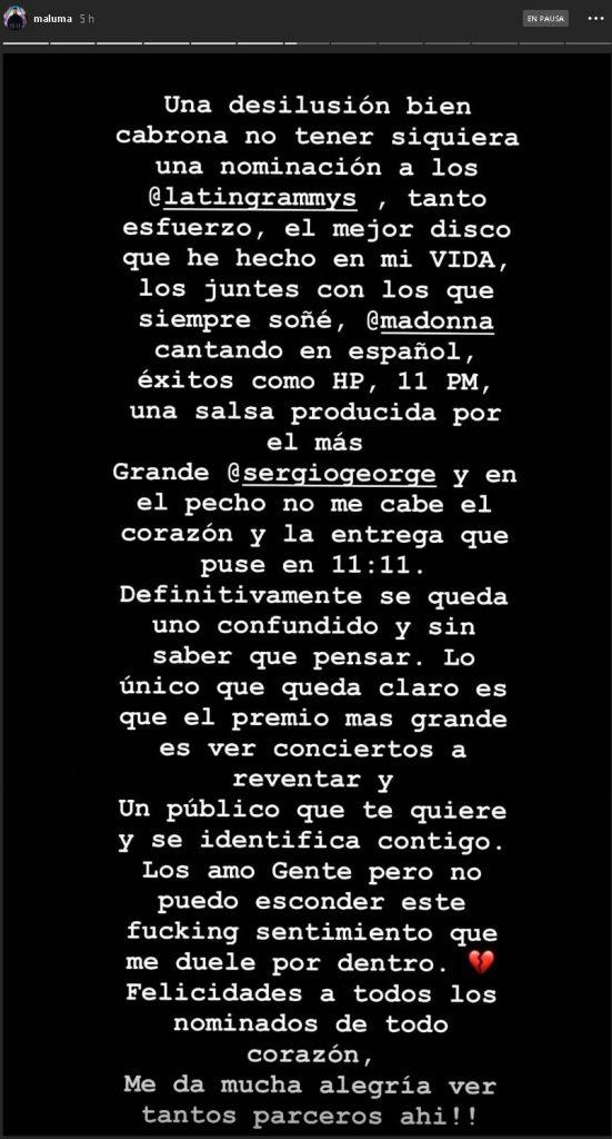 Historia de Maluma (Instagram)