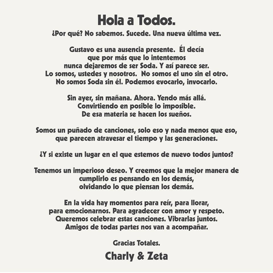 Comunicado Soda Stereo (Facebook)