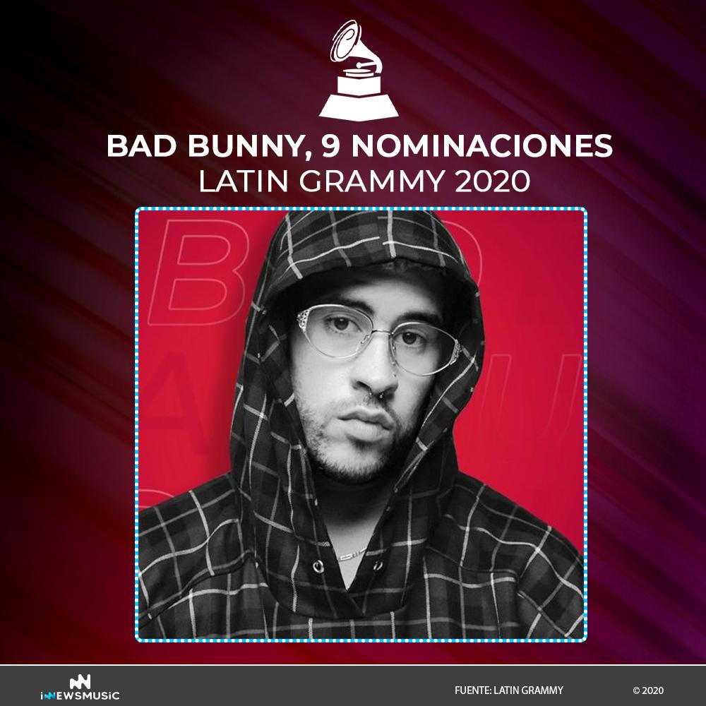 BadBunny recibe 9 nominaciones en los Latin Gammys 2020