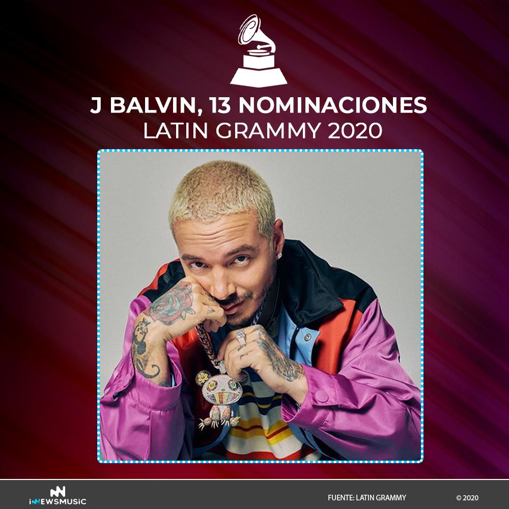J Balvin recibe 13 nominaciones en los Latin Gammy 2020