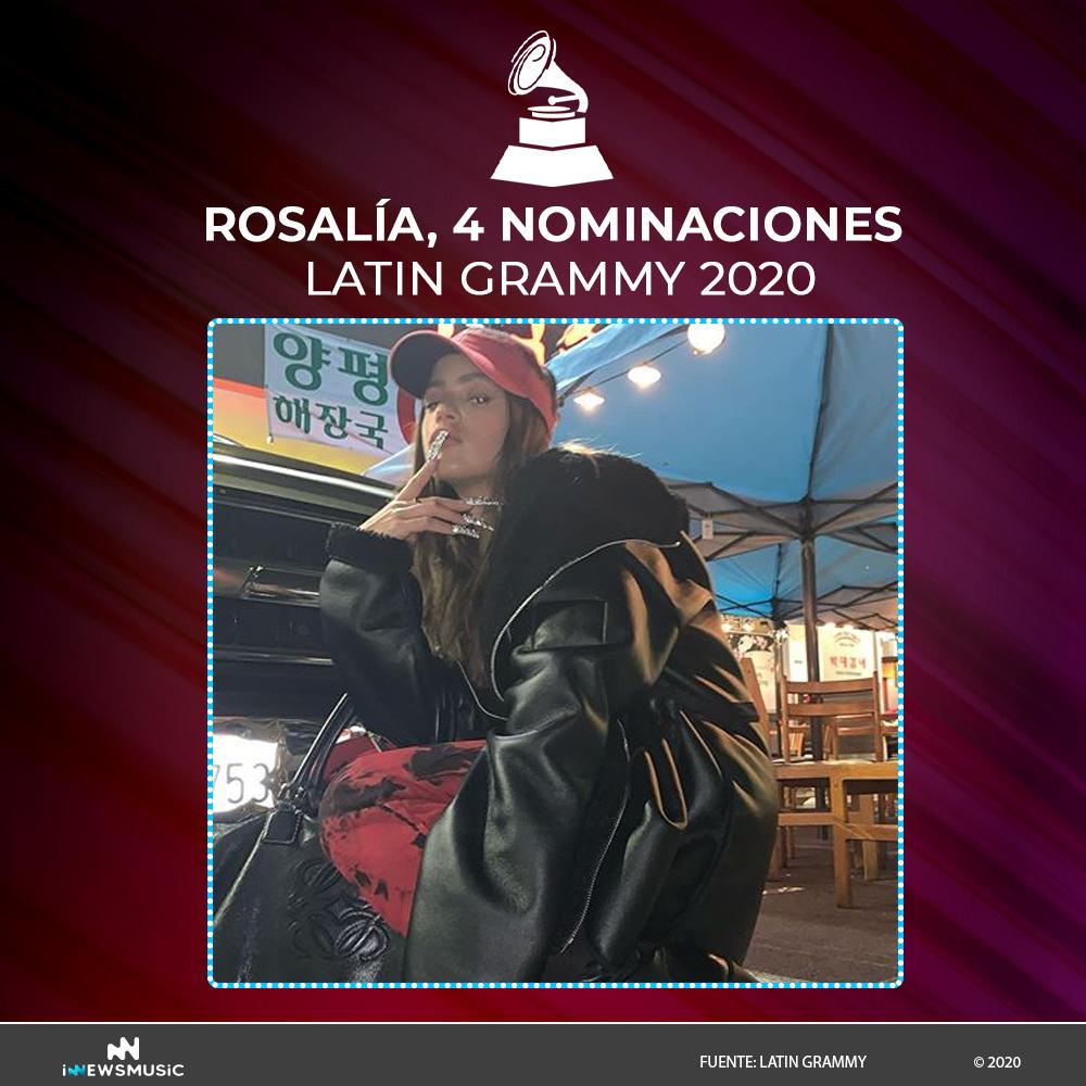 Rosalía recibe 4 nominaciones en los Latin Gammys 2020