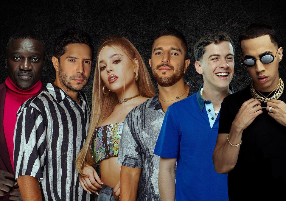 """Cali Y El Dandee junto a Danna Paola, Guaynaa, Brytiago Y Akon en """"Nada Remix"""" / Foto: Difusión (Universal Music)"""