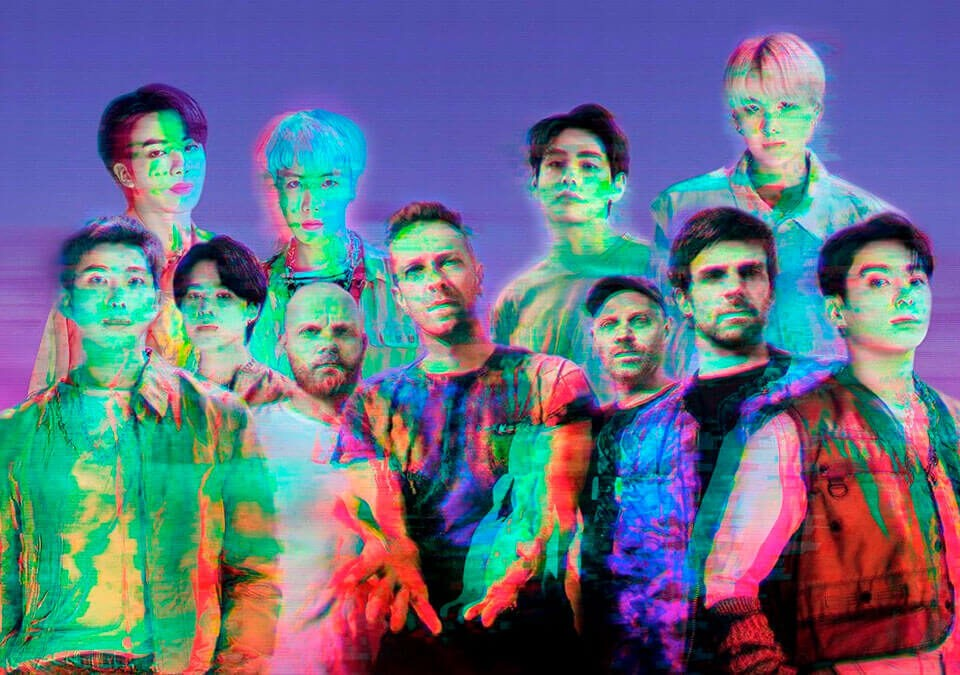 """Los integrantes de BTS y Coldplay para """"My Universe"""" / Foto: Twitter @jiminievenus"""